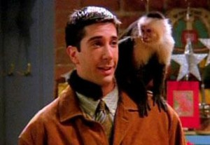 Ross and 'Marcel' from Friends. Image from http://friends.wikia.com/wiki/Marcel